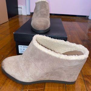 Tan Suede Fur Lined Wedge Booties